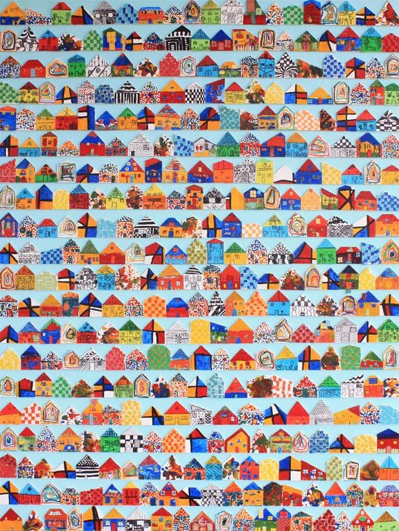 Elementary School Auction Art Project with 386 balsa wood houses!