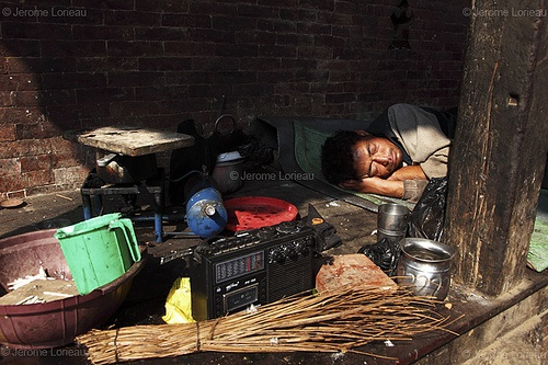 Homeless sleeping on Durbar Square, Kathmandu