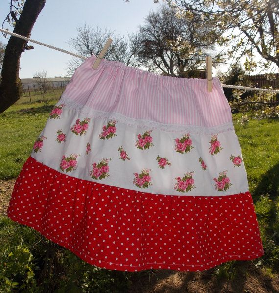 Joan Vilem Boutique Girl Skirt  Red Polka Dot by AtelierJoanVilem