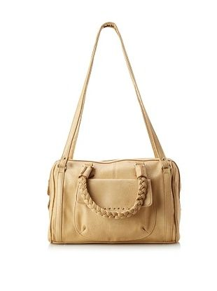 Nila Anthony Women's Braided Handle Satchel, Nude