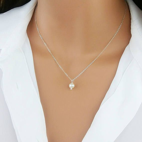 Single Pearl Necklace Pearl Drop Necklace Bridesmaid Gift