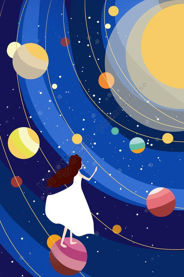 ارتفاع كوكب فتاة الكون ستار الأزرق الداكن أصفر صورة توضيحية على Pngtree غير محفوظة الحقوق Illyustracii Vselennaya Dizajn Illyustracij