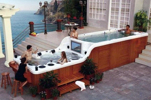 17 best images about deck designs on pinterest drop for Hot tub deck designs plans
