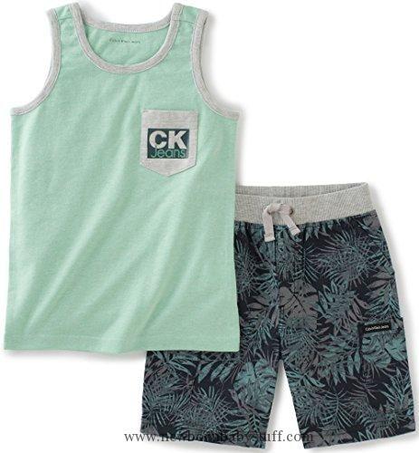 Baby Boy Clothes Calvin Klein Baby Boys' 2 Pieces Tank Top Short Set, Green, 24M