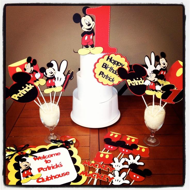 Mickey Mouse Cake Topper 3 piece set by PurpleZebraPaperCo