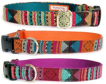Dog collar Aztec Navajo Native American Tribal Mexican colorful geometric ethnic stripe fabric pet collar Puppy small dog large, Dog leash