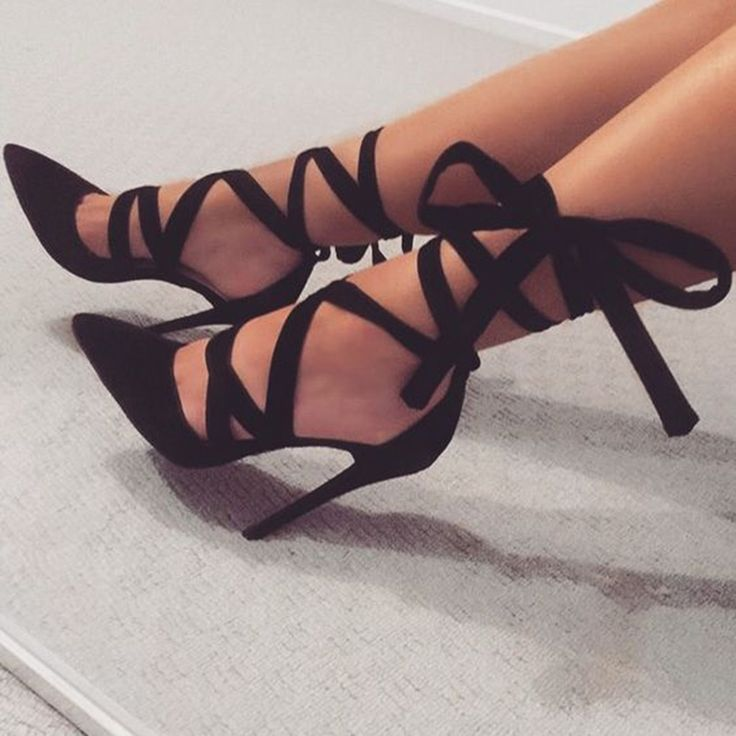 Shoespie Date Out Black Ribbon Lace Up Stiletto Heels