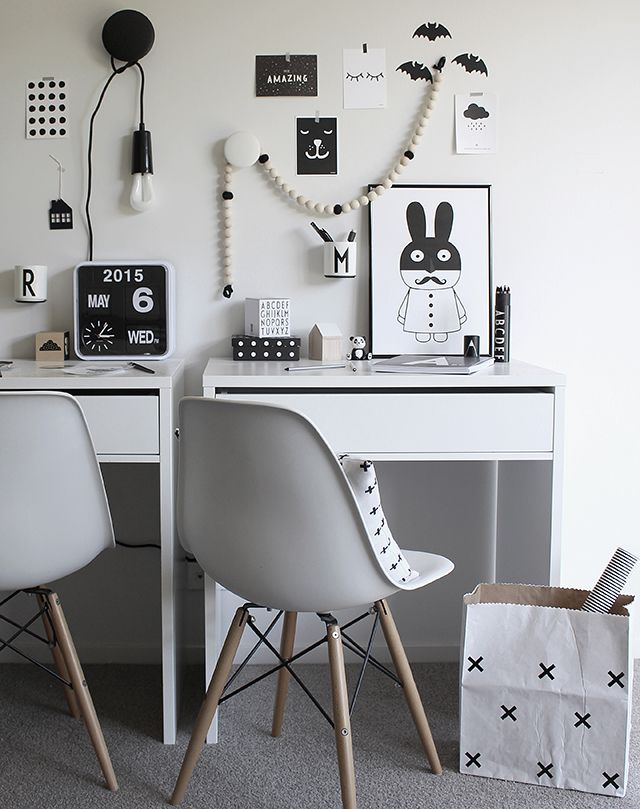 A cool monochrome desk space for kids - simple and stunning