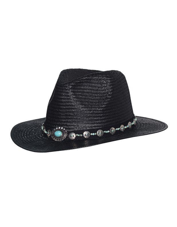 Strohhut mit Schmuckband Der schwarze Hut aus feinen geflochtenen Naturfasern kommt mit kleiner Krempe sowie einem schwarzen Band mit exklusiver Perlen- und Schmucksteinverzierung.  Das wunderschöne dekorative Zierband macht den Hut zu einem echten Highlight!