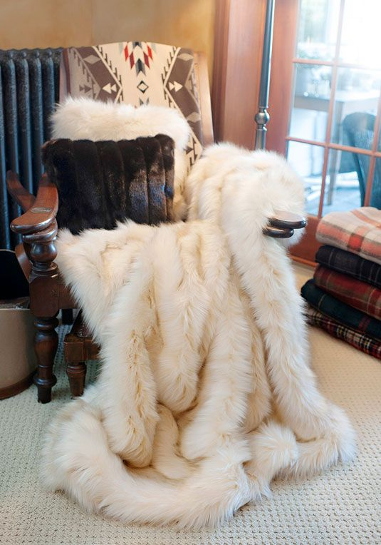 Ivory Bear Limited Edition Faux Fur Throw Blankets