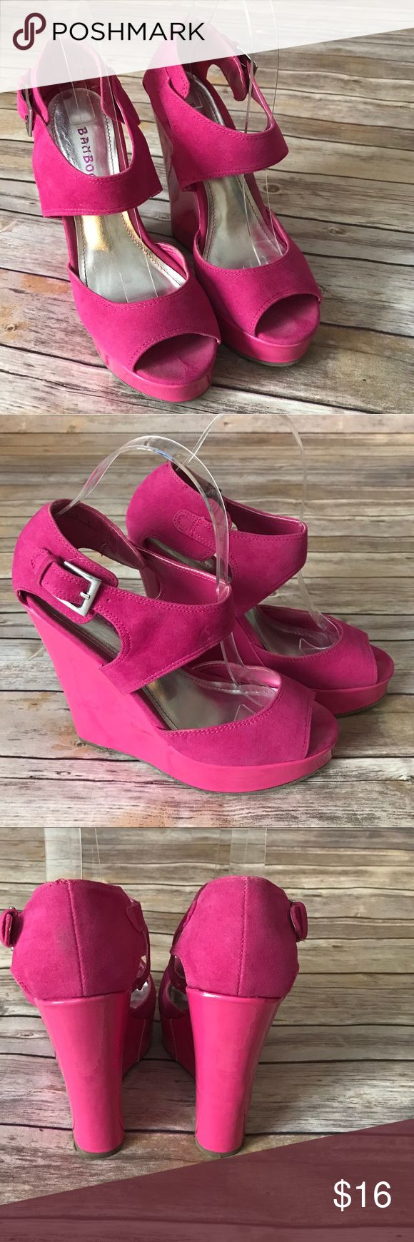 Bamboo Size 8 Hot Pink  Wedges 5 1/2 inch wedge.  Small white spot on back of right shoe.  Silver hardware BAMBOO Shoes Wedges