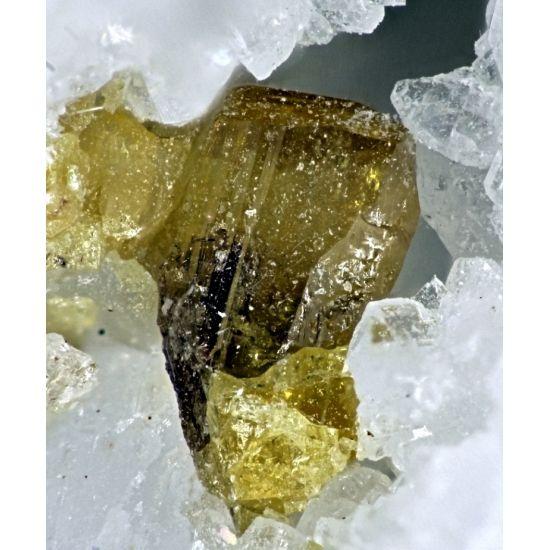 Fersmite (rare mineral) ~ Alpe Rosso Vigezzo Valley, Piedmont, Italy  Formula: (Ca,Y)(Nb,Ta,Ti)2(O,OH)6 Strunz: 4.DG.05 Hardness: 4.0 - 4.5