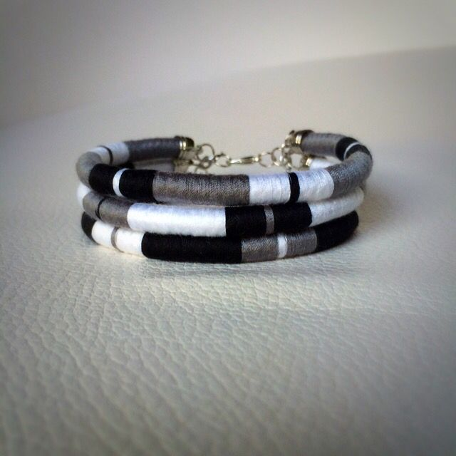 Monochrome thread wrap bracelet