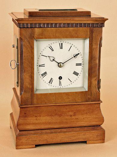OnlineGalleries.com - Small Satinwood Mantel Clock. Antique Clock                                                                                                                                                                                 More