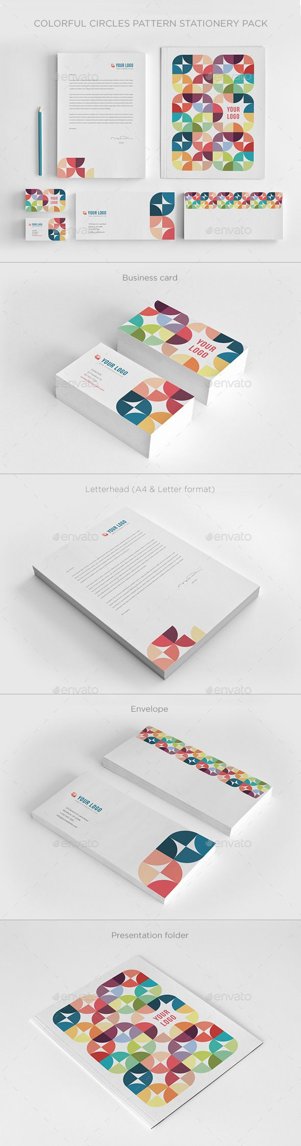 Colorful Circles Pattern Stationery - Stationery Print Templates