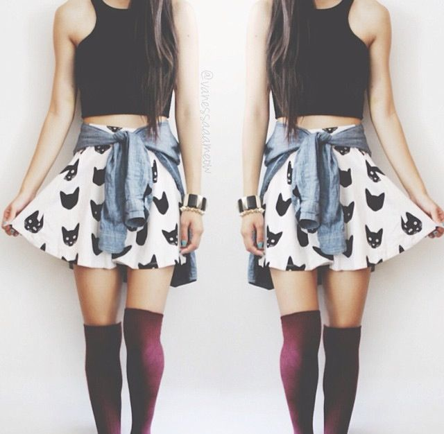 cat skater skirt black crop top denim shirt around