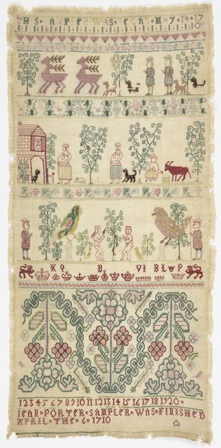 """Cross borders showing people, animals, a house, Adam and Eve and a border of identified crowns with two inscriptions. This sampler is medium: silk embroidery on linen technique: long-armed cross, herringbone, double running, detached looping, buttonhole, and couching stitches on plain weave. Its dimensions are: 47.5 x 22.5 cm (18 11/16 x 8 7/8 in.). It is inscribed """"""""This sampler was begun may 14 1709"""" """"JEAN PORTER SAMPLER WAS FINISHED APRIL THE 6 1710"""""""". This sampler is from United Kin"""