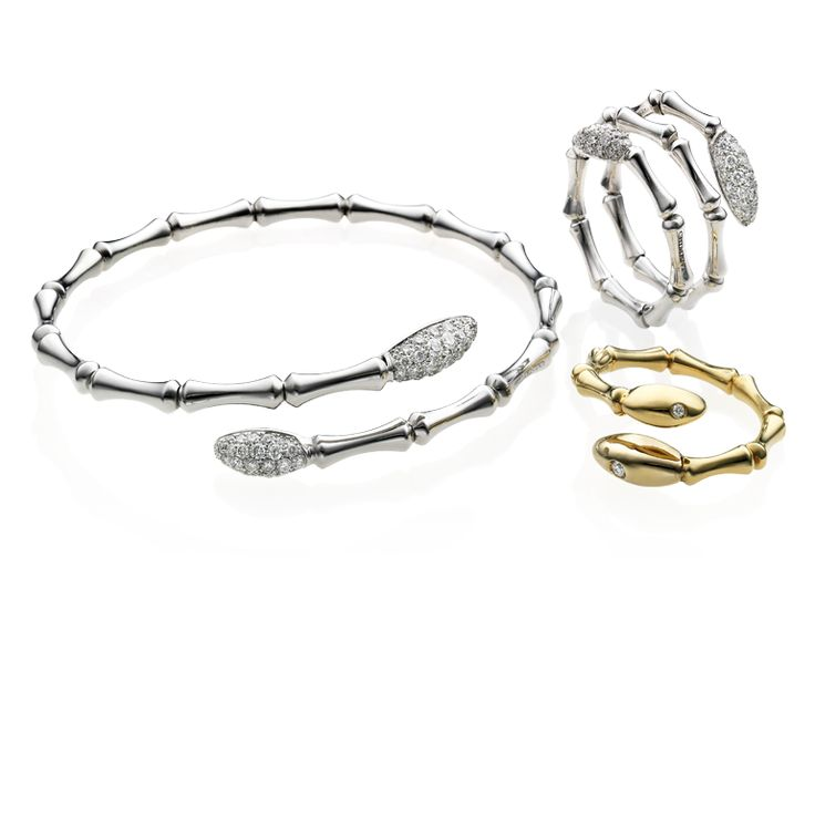 CHIMENTO Bamboo Navette yellow and white gold rings and bracelet with diamonds.