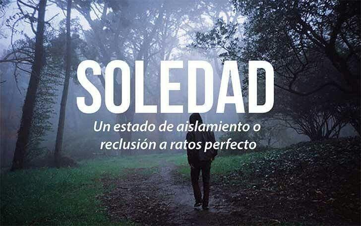 Soledad: un estado de aislamiento o reclusion a ratos perfecto.