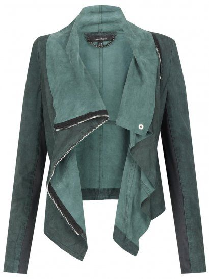 This is a nice Draped Jacket.  It has a button at the top and a zipper.  It would go good with black white or brown skinny jeans.  With boots or heels.  (preferably heels)  also make sure to accessories it with silver dangily earnings and if wanted a scarf.  Do you.. Want... Need... Love?