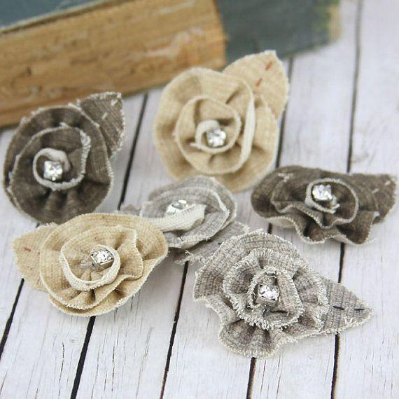 Tattered Treasures Bark fabric flowers with rhinestone by Hennytj