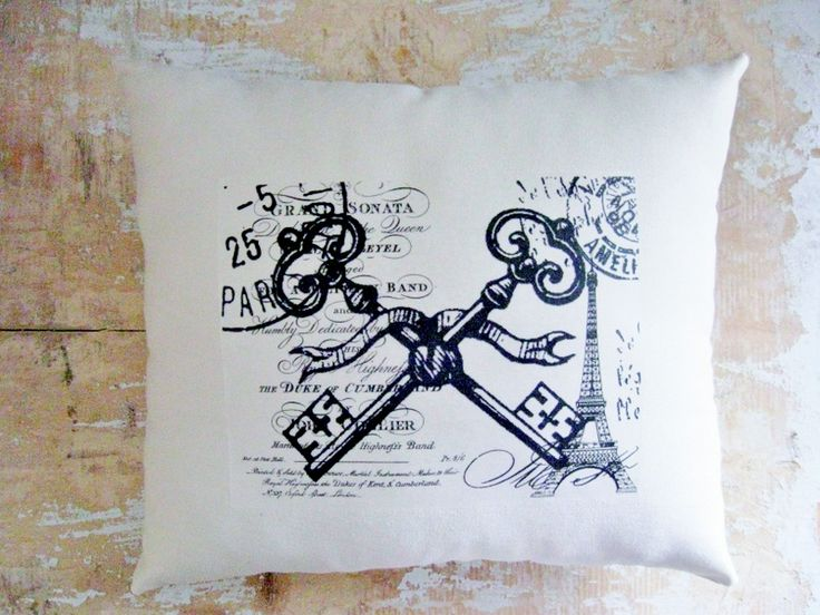Paris Pillow, Skeleton Keys, Eiffel Tower, French Country