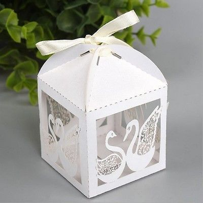 Whole 50pcs Laser Cut Swan White Candy Box Wedding Favor In Pearlescent