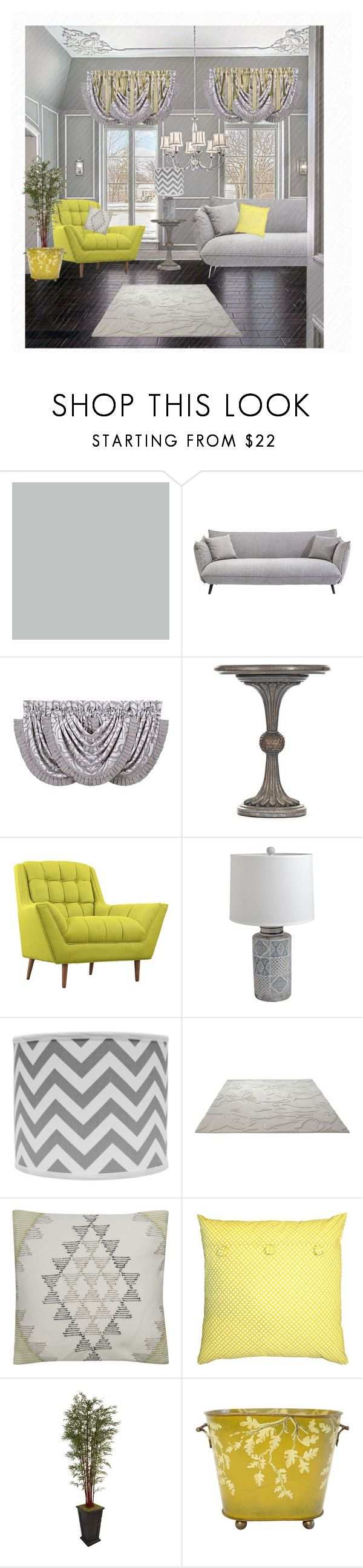 """""""Yellow and gray Decor"""" by barebear1965 ❤ liked on Polyvore featuring interior, interiors, interior design, home, home decor, interior decorating, J. Queen New York, LexMod, Pier 1 Imports and Universal Lighting and Decor"""