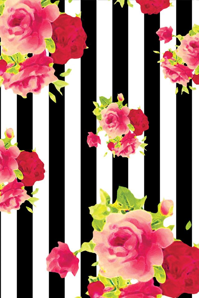iPhone Wallpaper floral wallpaper pink black white stripe roses