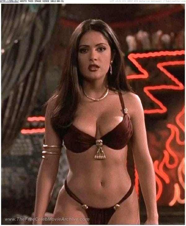 Salma Hayek in her Daring Dark... is listed (or ranked) 1 on the list The Hottest Salma Hayek Bikini Pictures