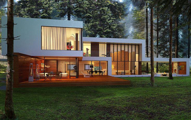 Дом в поселке Брюховичи : Casas minimalistas de Aleksandr Zhydkov architect