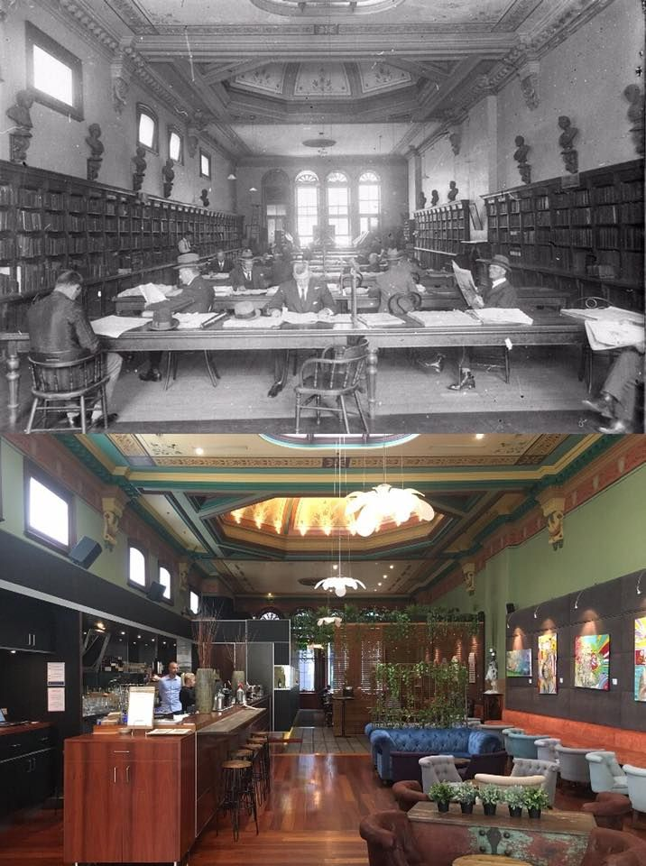 From the upstairs reading room of the Sydney Mechanics School of Arts in 1920 to the Grafitti Ristorante of the Arthouse Hotel in 2017. Pitt Street, Sydney. [State Library of NSW > Phil Harvey. By Phil Harvey]