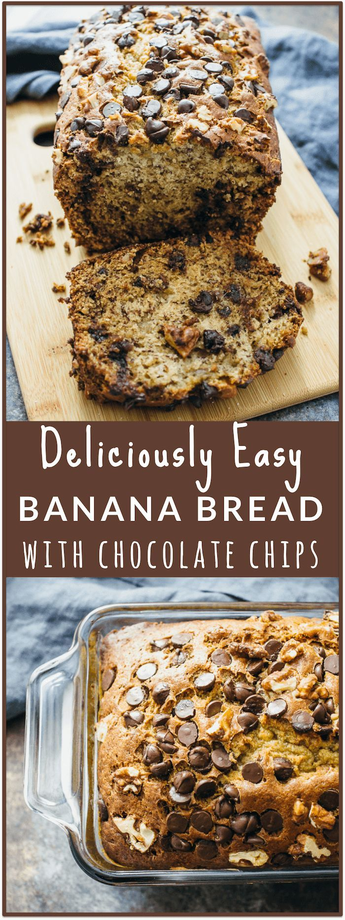 Banana bread with chocolate chips and walnuts - Here's an easy and healthy recipe for banana bread with chocolate chips and walnuts! This banana bread is wonderfully moist on the inside and has a nice crunchy golden crust on the outside. - http://savorytooth.com via /savory_tooth/