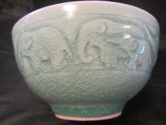 vintage thai celadon pottery with a crackle glaze by jaystreasures