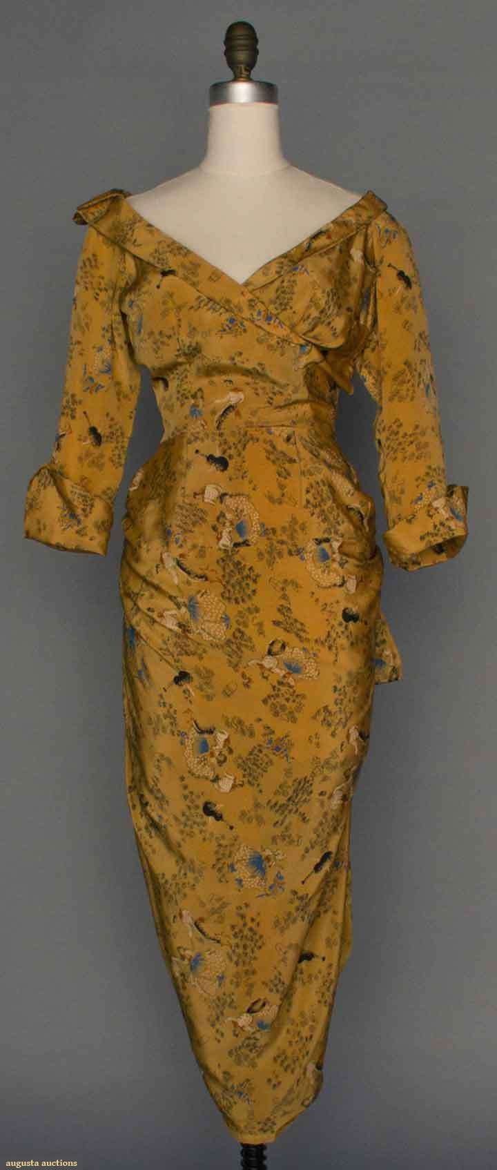 Late 1940s Ceil Chapman curry-colored silk dress w/pencil print of dancing couples amongst scattered flowers, surplice bodice, narrow shawl collar, 3/4 length sleeves w/deep cuff, sarong-style wrap skirt in narrow tulip shape, with label, Via Augusta Auctions.