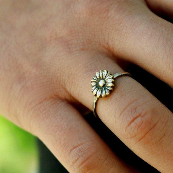 Sunflower Ring Flower Stack Ring Flower Ring by LittleGreenRoom