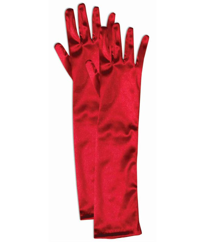 Red Elbow Length Satin Gloves. One size fits most. Polyester material. Has great stretch for the perfect fit.