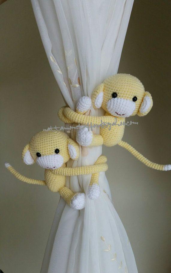 Crochet monkey curtain tie backs Animal Baby Gif baby | Etsy | 911x570