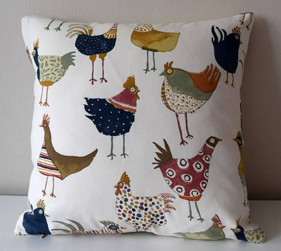 "Ready to Ship 16x16"" and 18x18"" Pillow with Chickens, Baby Pillow, Nursary Cushion, Kids Pillow Case, Children's Pillow, Colourful Pillow"