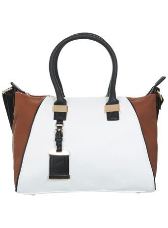 White and Tan Winged Tote Bag
