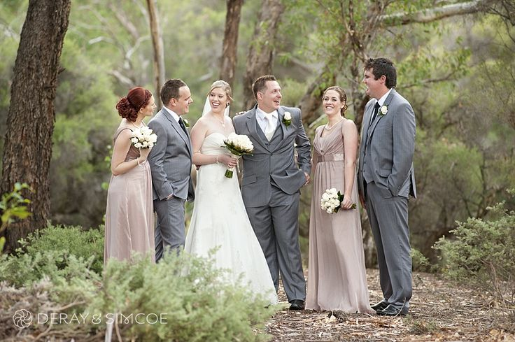 Soft pink & grey bridal party in the native bushland Swan Valley Western Australia Photography by DeRay & Simcoe