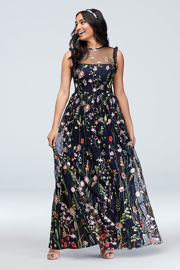 Floral Embroidered High Neck Illusion Gown David S Bridal Floral Embroidery Dress Necklines For Dresses Dresses