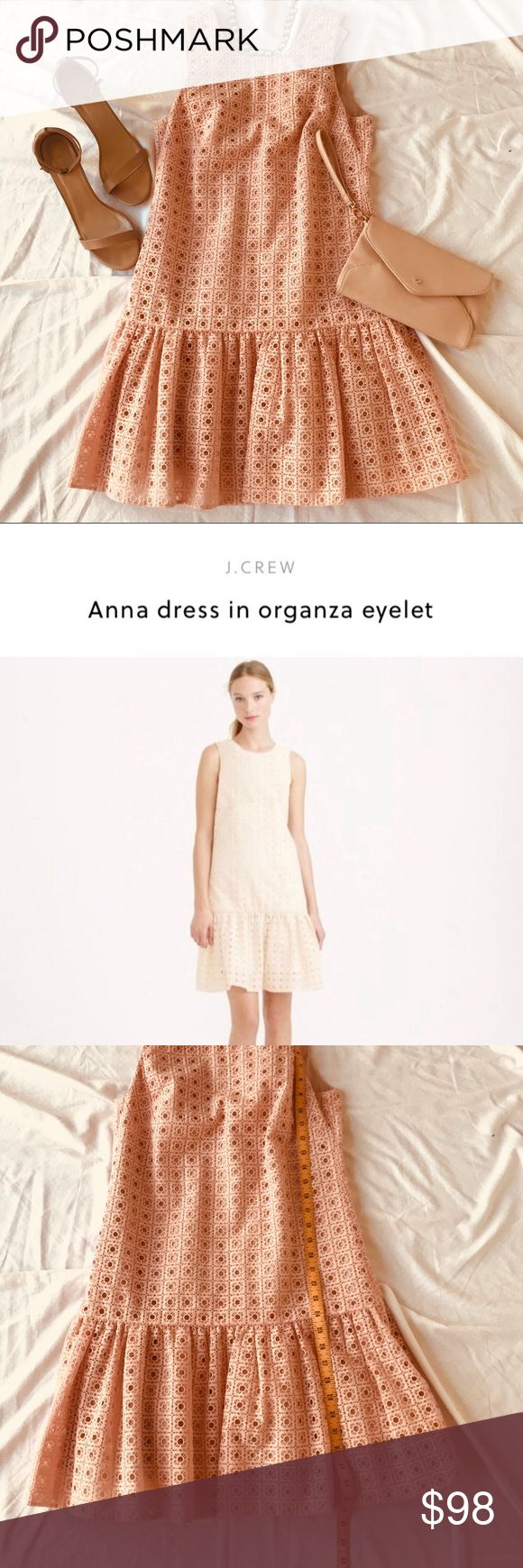 J. Crew Anna Dress in Organza Eyelet J. Crew 'Anna' Dress in organza eyelet. - Brand New with Tags - The J Crew color is 'papaya' which is a light pink/peach.  - Sleeveless and fully lined. - eyelet dress with ruffle skirt from J.Crew Weddings & Parties collection - Perfect for bridesmaid dress, wedding guest dress, brunch dress, date night dress, baby shower dress, or bridal shower dress J. Crew Dresses