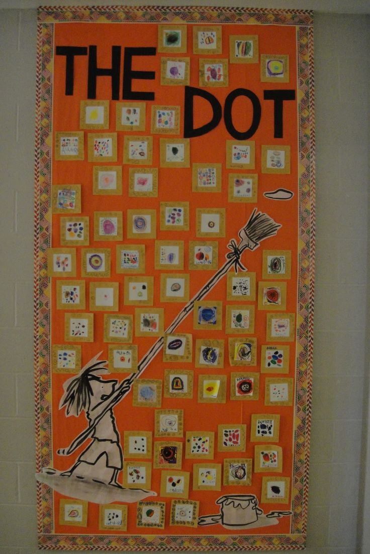 "Individual ""dots""...glued to frame like in the story. This will be a great follow up to the cut paper collage we just did about the dot, or might be a save for next year...hmmm..."