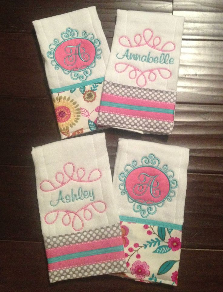 21 best handmade by jennilee images on pinterest baby embroidery twin baby girl personalized burp rags like our facebook page sew negle Images