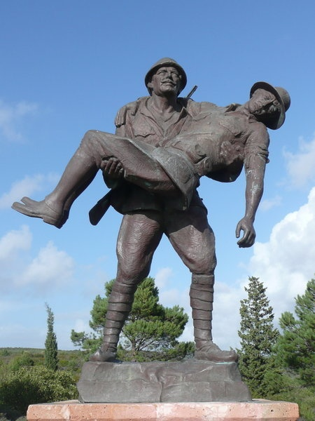 """✿ ❤ ÇANAKKALE GEÇİLMEZ !! 18 Mart 1915 ! Gallipoli battlefield cemetery  statue of an Ottoman soldier carrying a wounded ANZAC soldier. """"As the cries of the wounded continued and the hot sun rose, the Anzacs were moved to pity. They had never seen such bravery before. A truce was arranged and Anzacs and Turks together helped to bury the dead.""""    --A.K. Macdougall, Australia in History: Gallipoli and the Middle East, 1915-18..."""