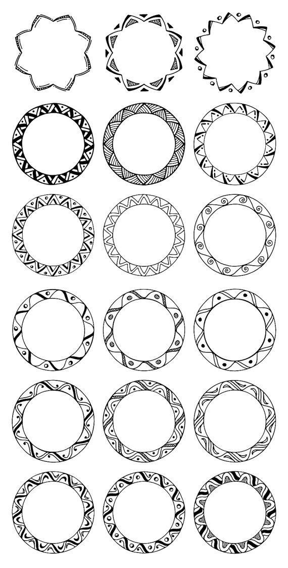 36 Hand Drawn Decorative Round Frames, Circle Borders