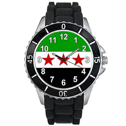 Freies Syrien Länder Flaggen Uhr Unisex Erwachsene mit Silikonarmband - http://geschirrkaufen.online/timest/freies-syrien-laender-flaggen-uhr-unisex-mit