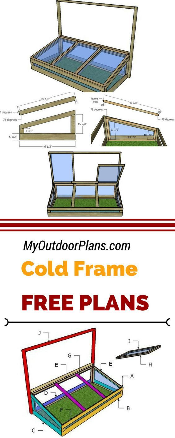 Learn how to build a cold frame using my free and step by step plans. I have designed this cold frame greenhouse with three lids, so you can have an easy access to the interior. See the free instructions and diagrams at myoutdoorplans.com #diy #coldrame