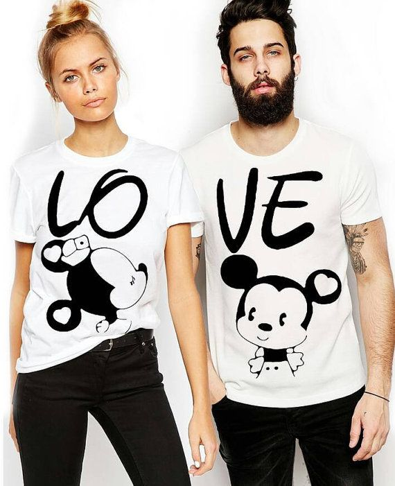 """Couple T-shirts set """"LOVE"""" set of 2 couple T-shirts custom couple shirts set of 2 couple shirts Love you tshirt. Gift for her. Gift for him."""